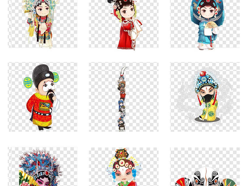 京剧展板戏剧脸谱卡通人物png透明素材