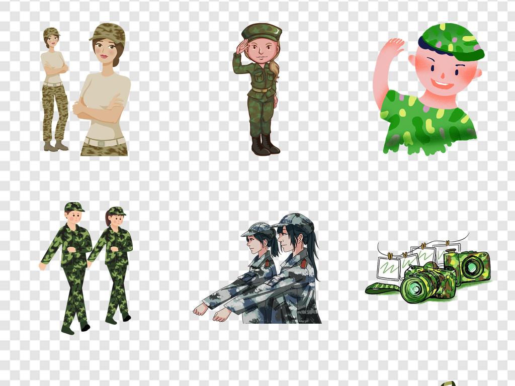 卡通人物军训开学军训素材军训小报装饰