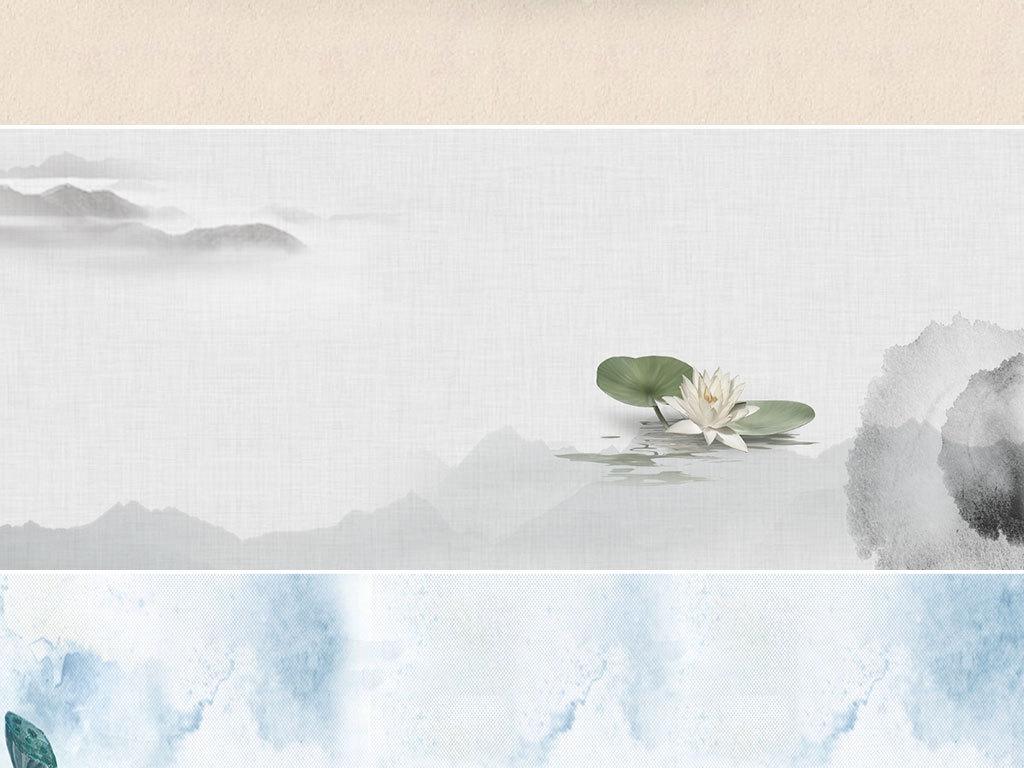 古风古典水墨山水荷花banner背景素材