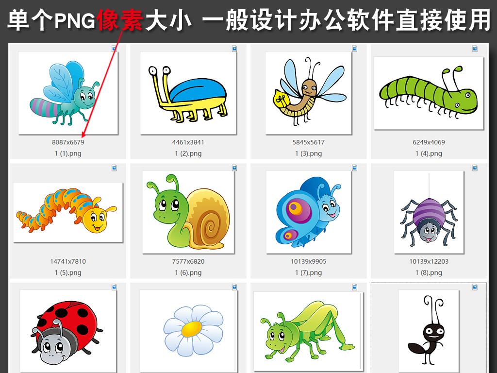 卡通可爱动物手绘小昆虫png免扣素材ps