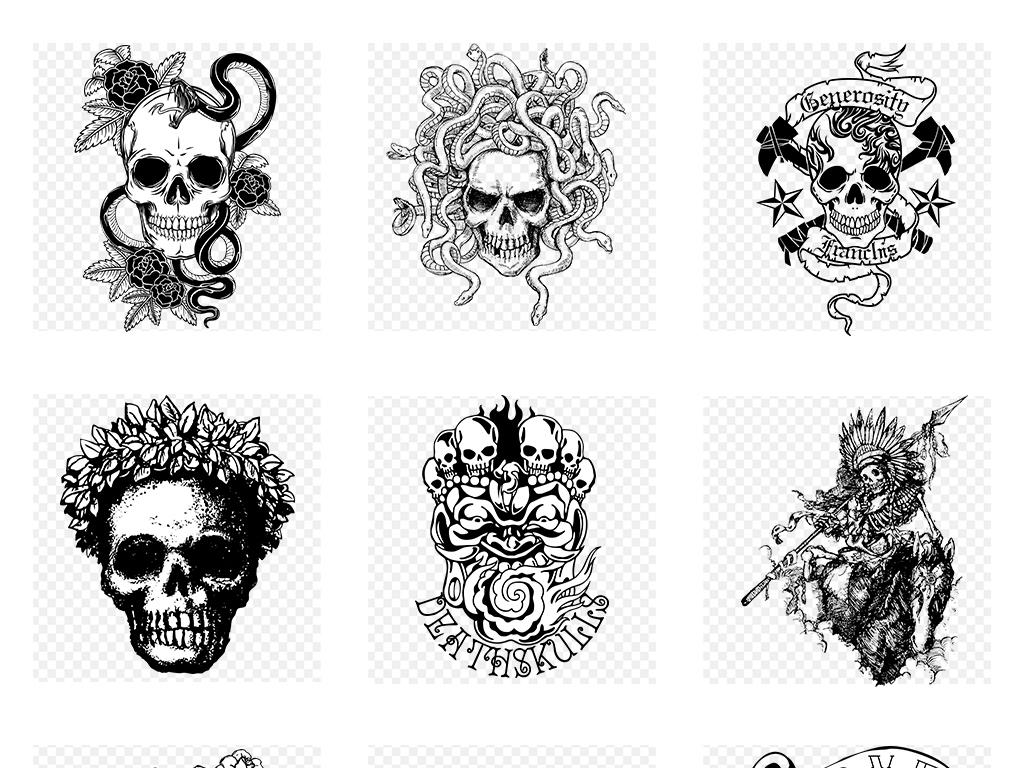 108款潮流恐怖骷髅头t恤服装图案纹身png图案素材图片
