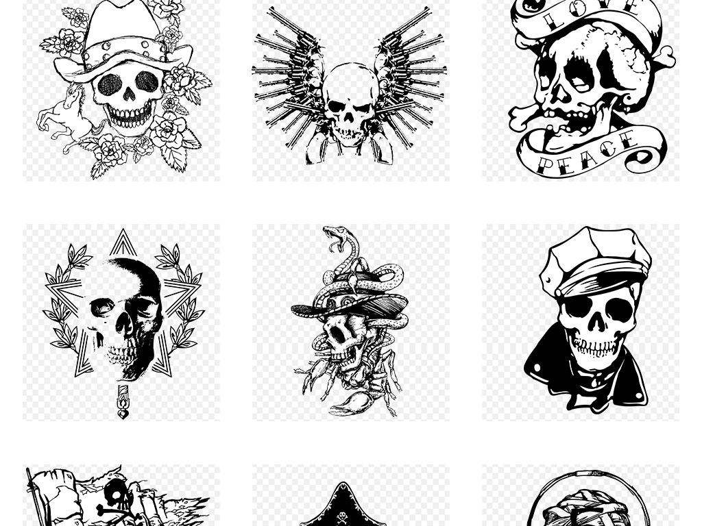 恐怖骷髅头t恤图案图案手绘矢量t恤主题创意炫彩骷髅头素材纹身骷髅恐