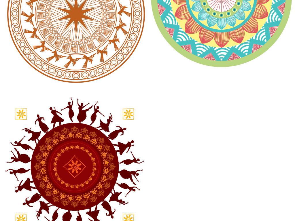 花边几何图形科技圆环印花图案印花花纹图案设计水墨边框圆形装饰中国