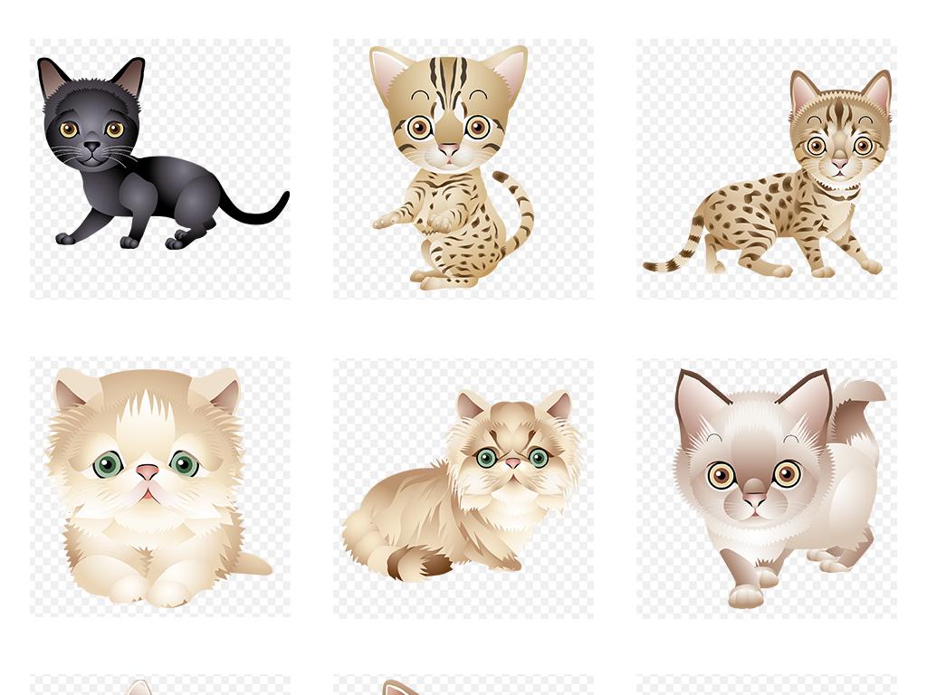 可爱卡通小猫png透明底高清素材