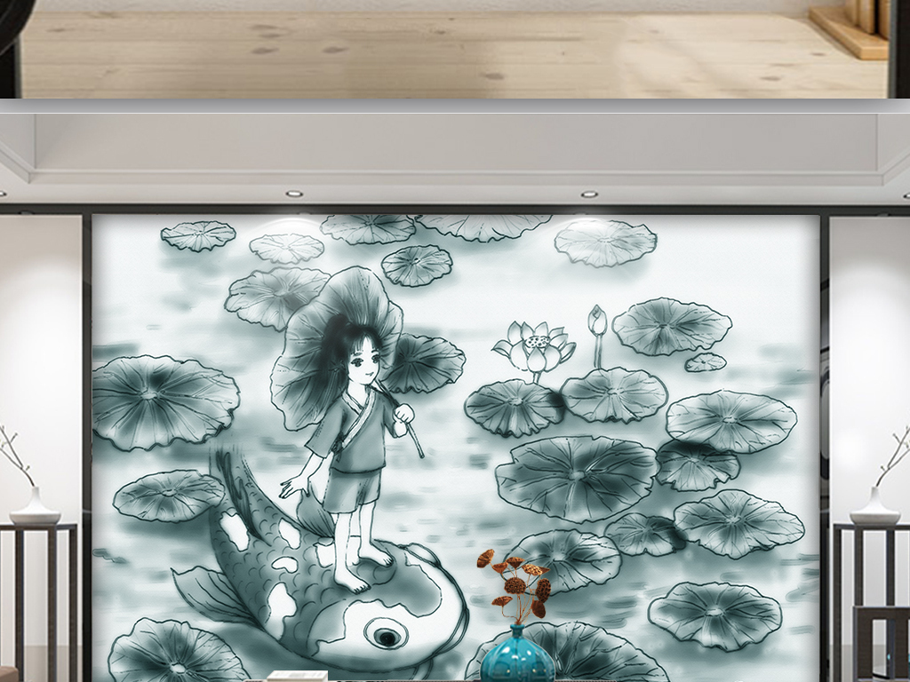 中国风手绘荷花荷叶荷塘背景墙装饰画壁画