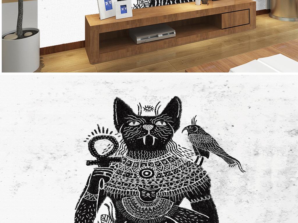 背景墙 电视背景墙 电视背景墙 > 手绘埃及猫人神话鹰  素材图片参数
