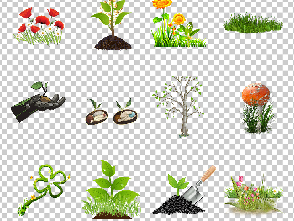 01261小花小草可爱卡通手绘花朵绿色小草可爱小花朵素材免抠透明png