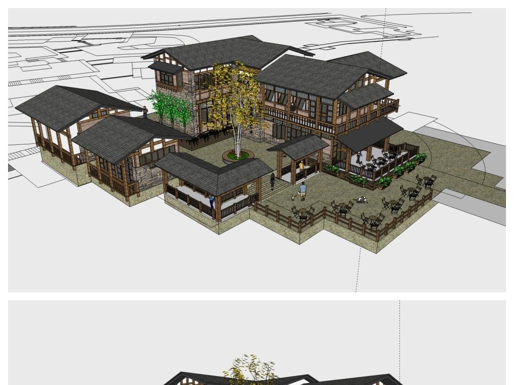 su川西风格山居院落中式古建筑设计