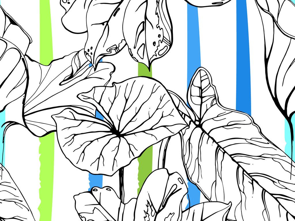 竖条几何手绘热带植物叶子服装家纺印花