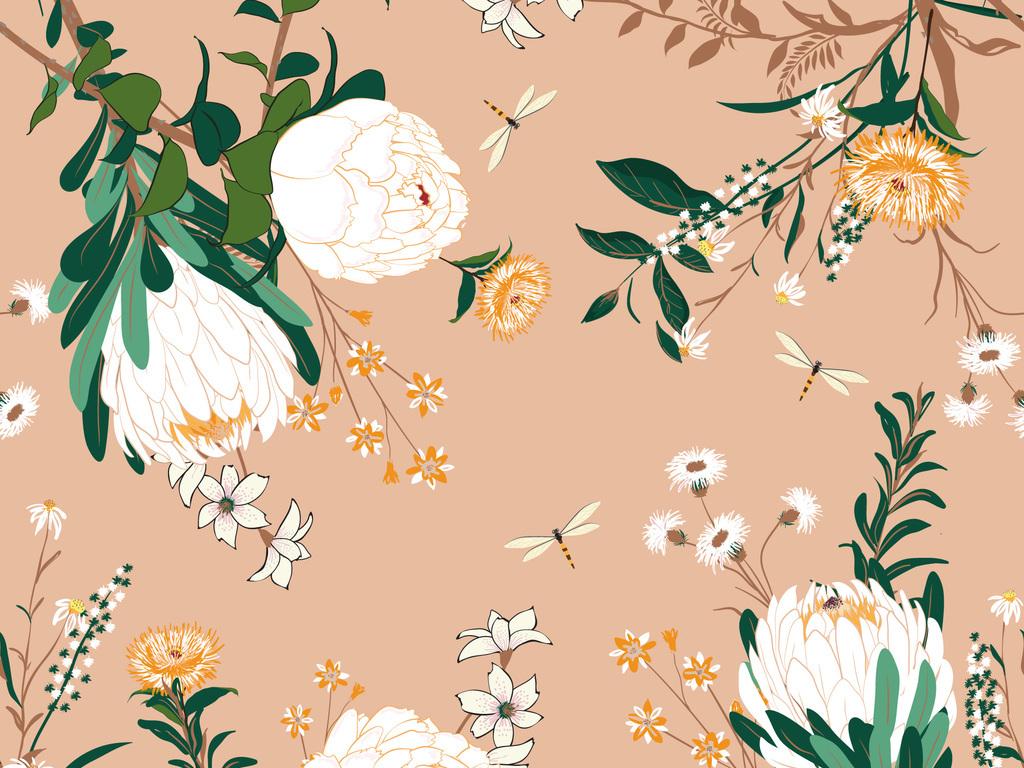 清新植物花卉花纹无缝面料印花