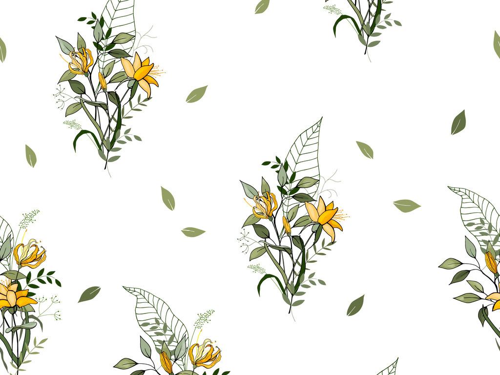 清新手绘植物花卉服装印花图案设计图片_高清素材下载