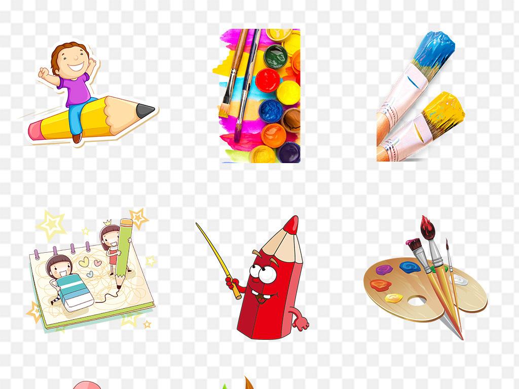 卡通手绘儿童彩色铅笔画笔png