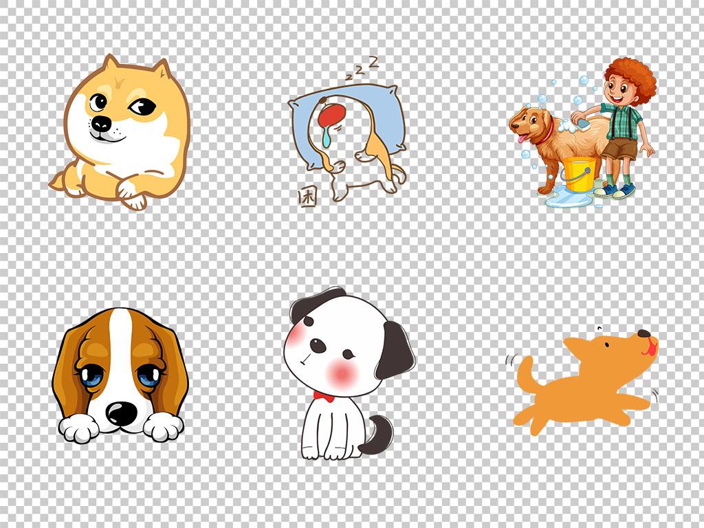 可爱卡通动物水彩小狗手绘宠物装饰背景png素材