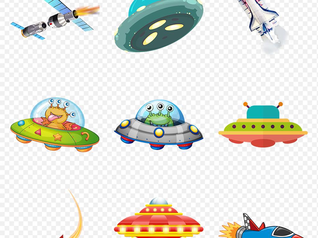手绘彩色卡通火箭飞船海报素材背景图片png