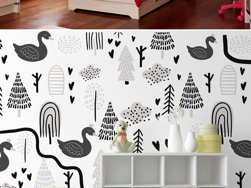 儿童房手绘背景墙卡通儿童背景墙黑天鹅