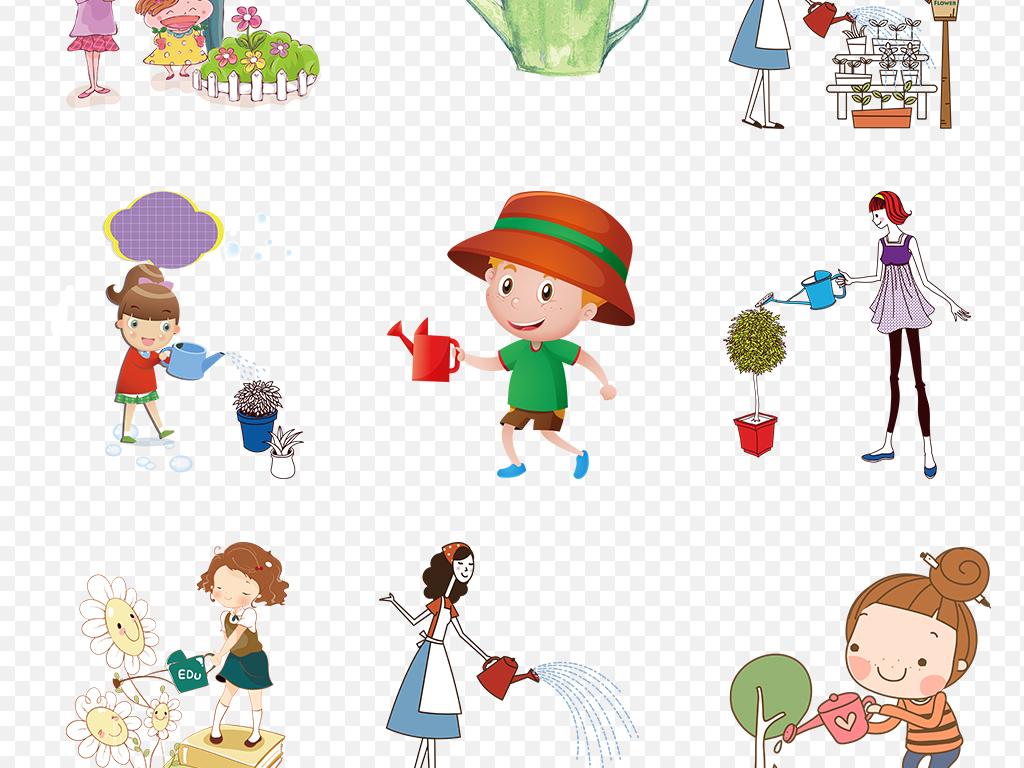 卡通手绘浇花浇水人物海报素材背景图片png