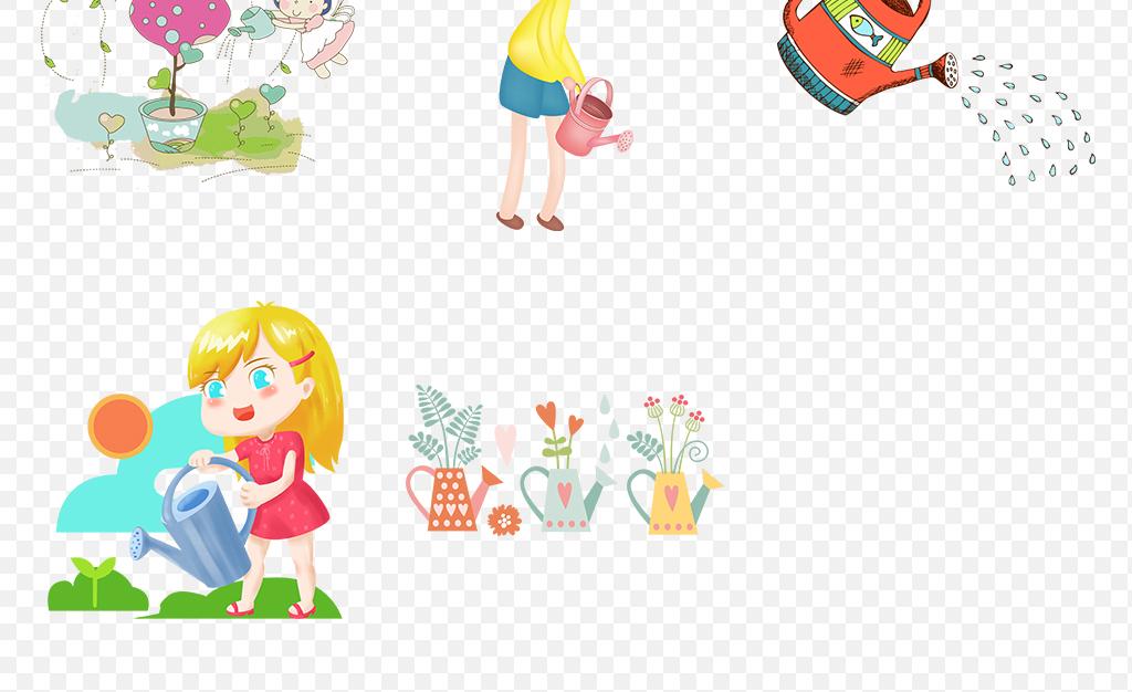 可爱儿童插画童话卡通插画种花浇灌育苗玩耍小孩花洒小朋友洒水壶园丁