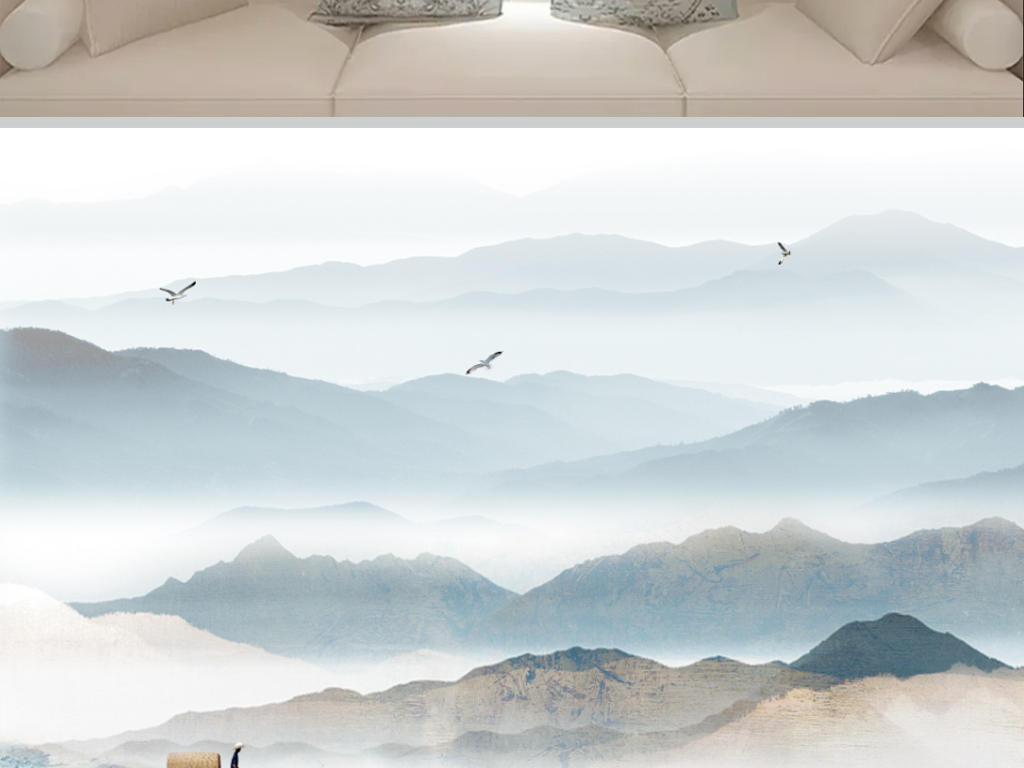 新中式山水风景画图片设计素材_高清psd模板下载(119.