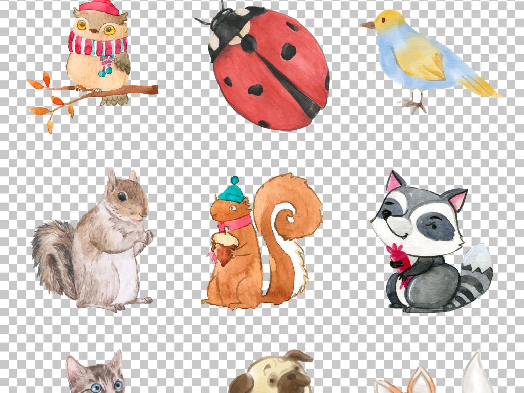 高清时尚手绘水彩小动物免抠png素材
