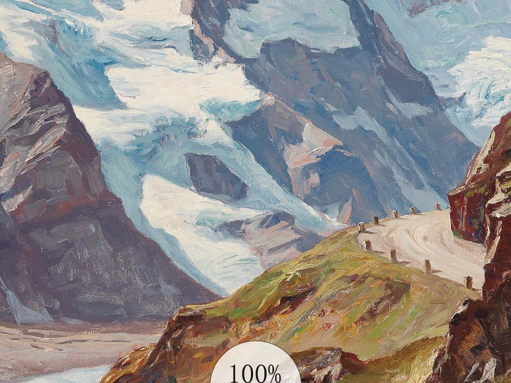 原创欧式大山景手绘油画风景山水客厅装饰画