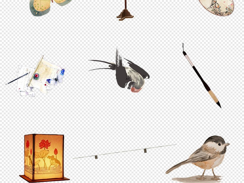 中国风元素合辑仙鹤水墨鱼花纹灯笼古琴琵琶png图片