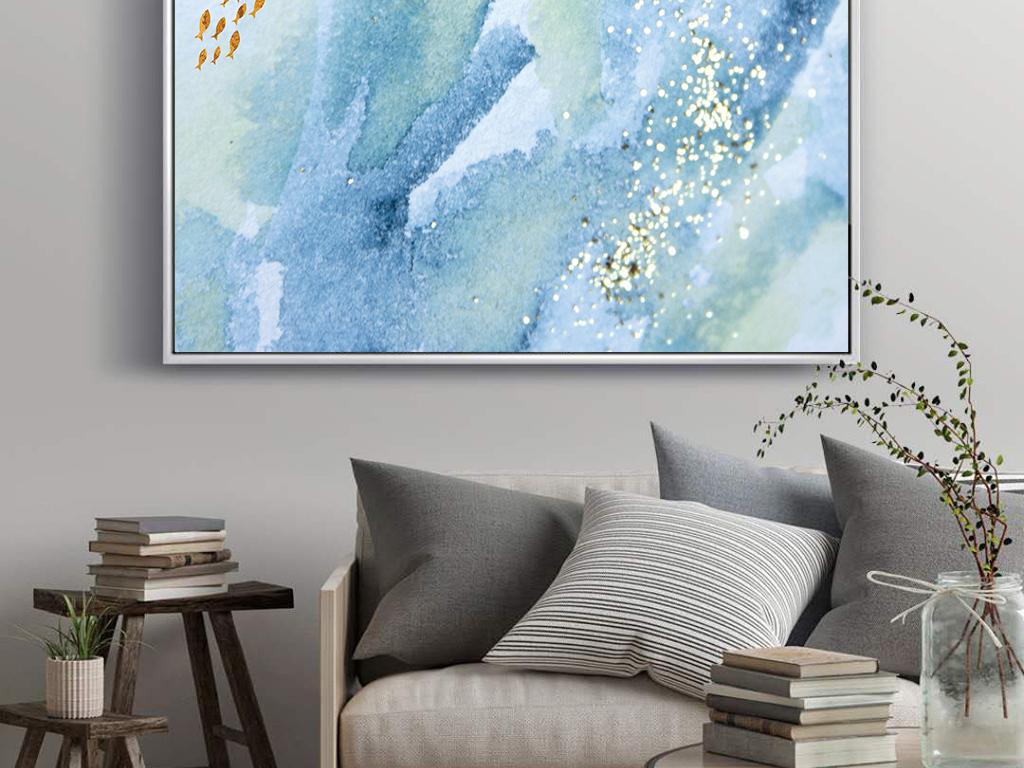 手绘蓝色水彩游鱼装饰画
