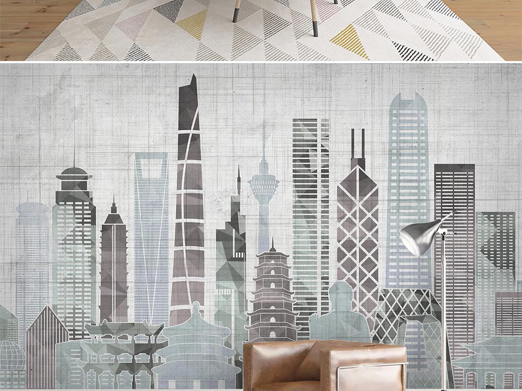 北欧现代简约城市建筑电视沙发背景墙壁画图片