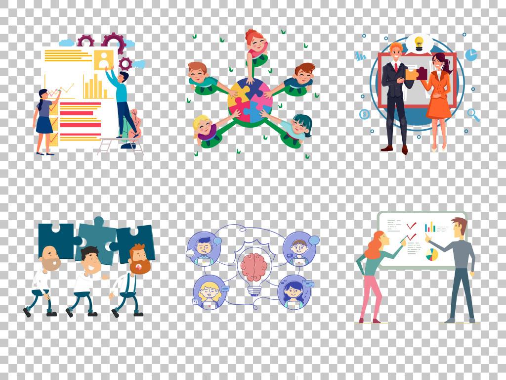 手绘卡通商务团队合作免抠png素材