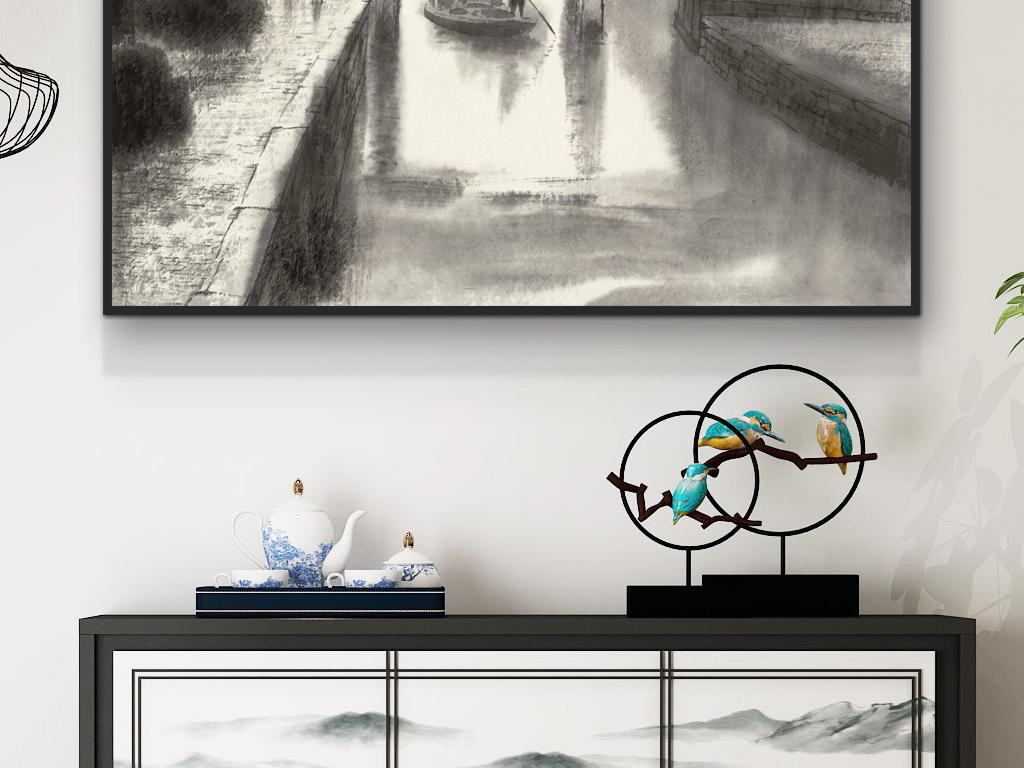 新中式客厅手绘装饰画超高清书房茶室新款画图片设计素材 模板下载