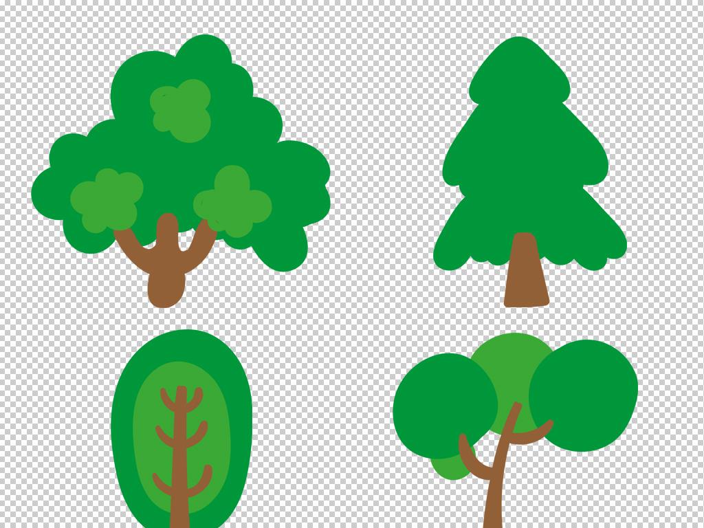 免抠元素 自然素材 树叶 > 卡通园林景观绿色树木插画装饰png素材  素