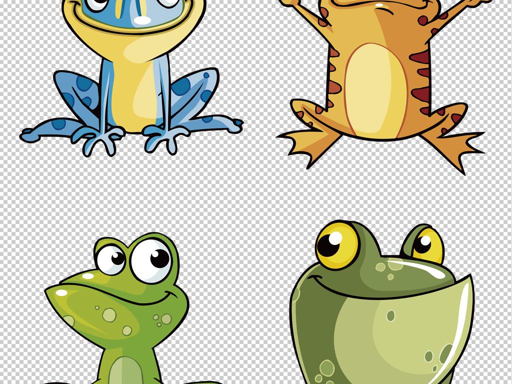 手绘彩绘小青蛙表情卡通可爱动物png素材