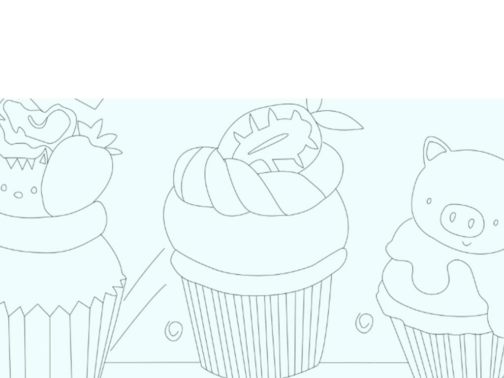 卡通水彩手绘动物水果蛋糕儿童房背景墙