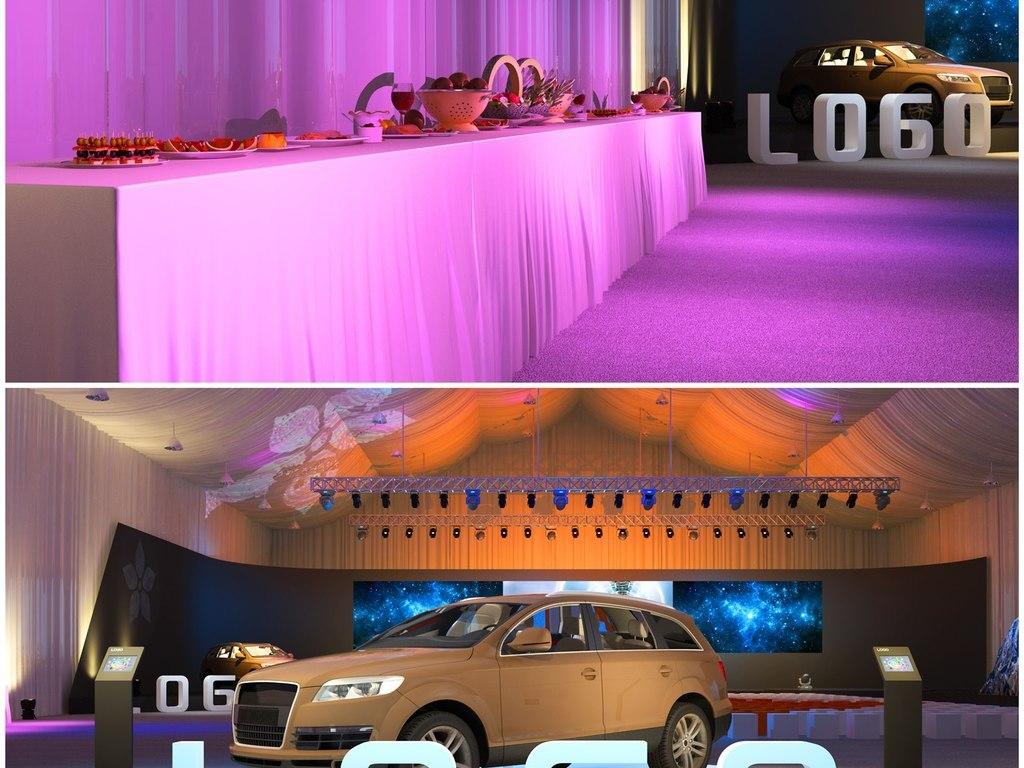 汽车产品发布会舞台舞美设计3d模型及效果图