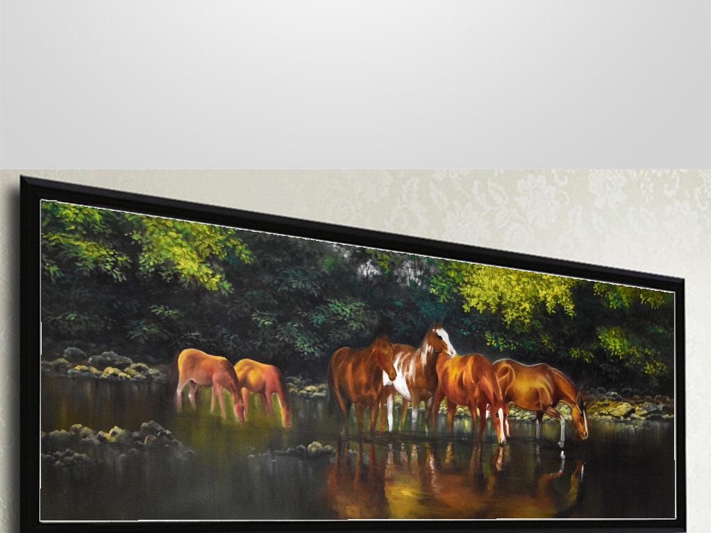 手绘高清八马骏图油画床头画图片设计素材 模板下载 39.84MB 山水装