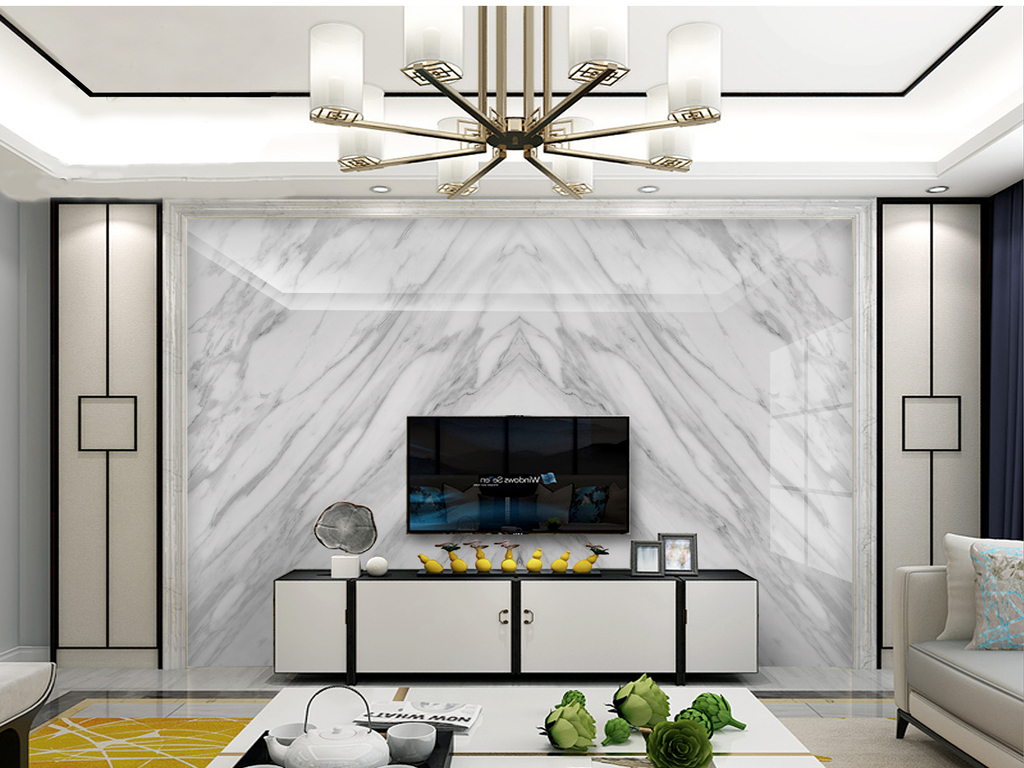 背景墙 电视背景墙 欧式电视背景墙 > 高档大气爵士白大理石大板背景
