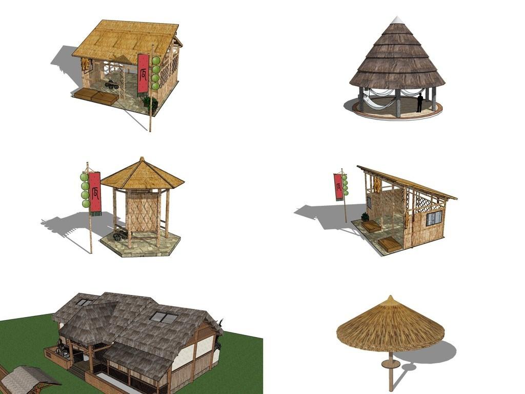 多款新农村茅草屋,室外小建筑su模型图片
