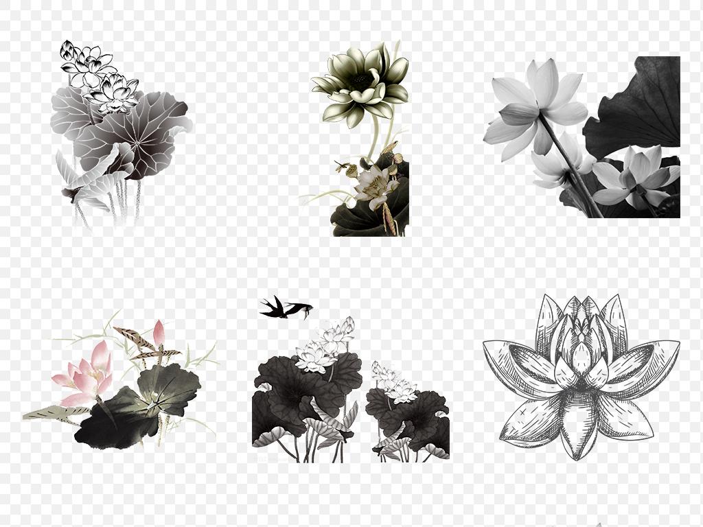 中秋节手绘黑白水墨荷花荷叶海报素材背景图片png
