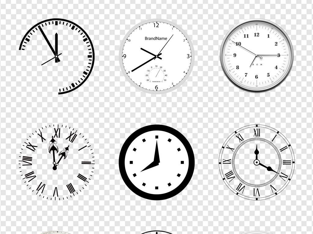 时钟装饰评比闹钟手绘时间刻度海报png素材