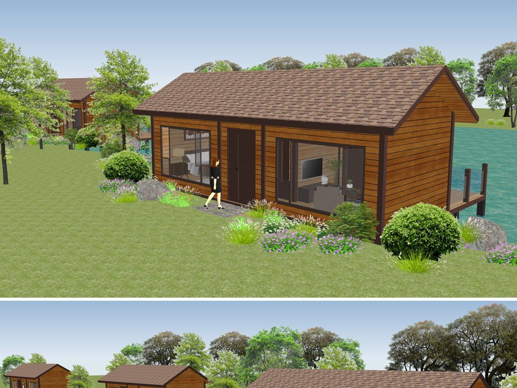 木屋别墅,度假木屋,亲水木屋,一房一厅,民宿设计图(66