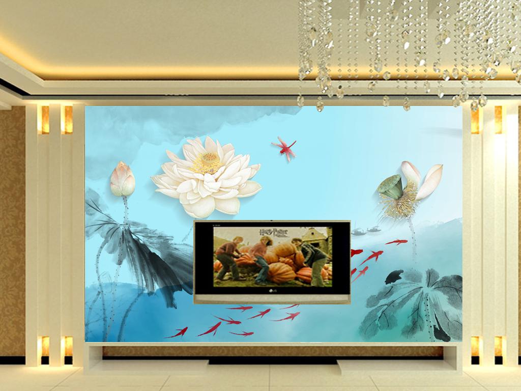 中式水墨荷花电视背景墙