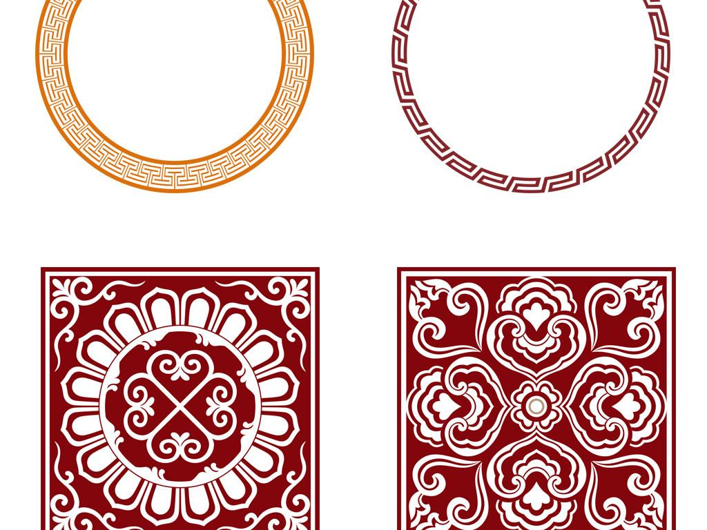 免抠元素 花纹边框 中国风边框 > 中式古典花纹花边回纹边框ai矢量