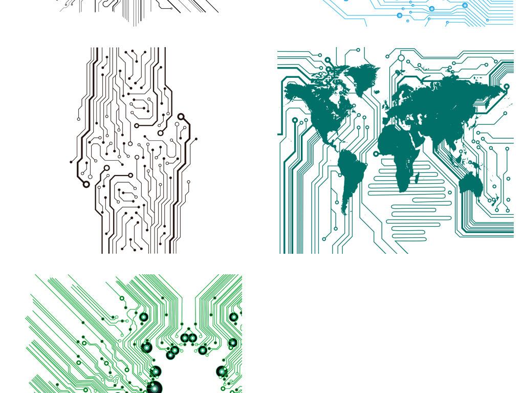 科技感抽象线条电路板芯片ai矢量元素