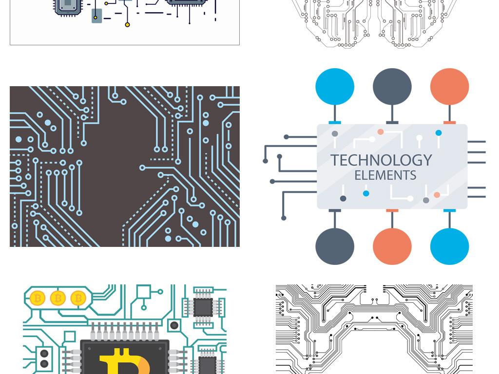 线条抽象科技科技感芯片矢量元素电路板科技元素芯片科技科技电路板科