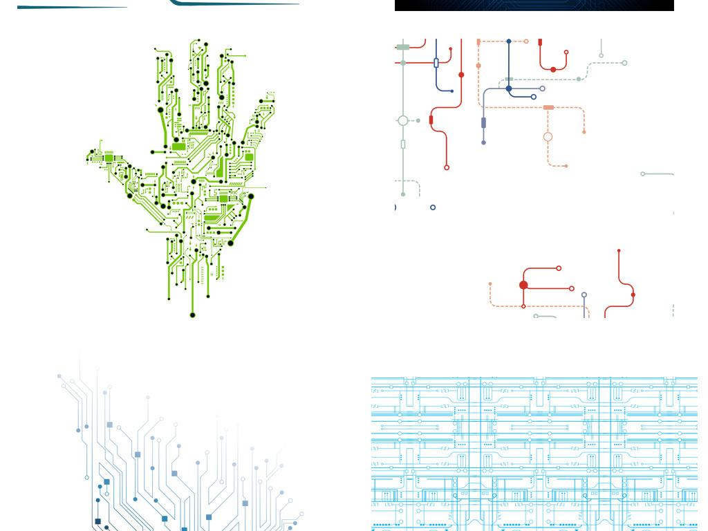 线条抽象科技科技感芯片矢量元素电路板科技元素芯片科技科技电路板