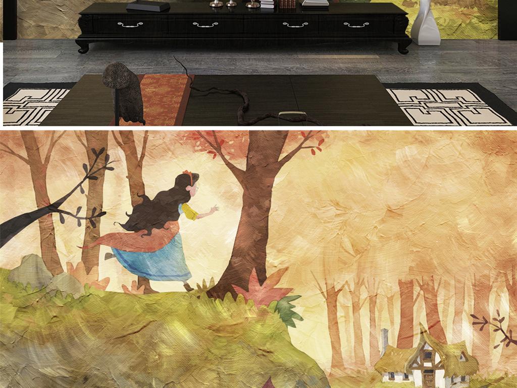 手绘女孩隐居房子森林