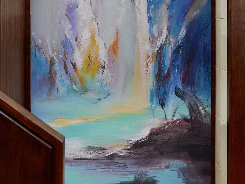 竖幅装饰油画玄关风景流水高山
