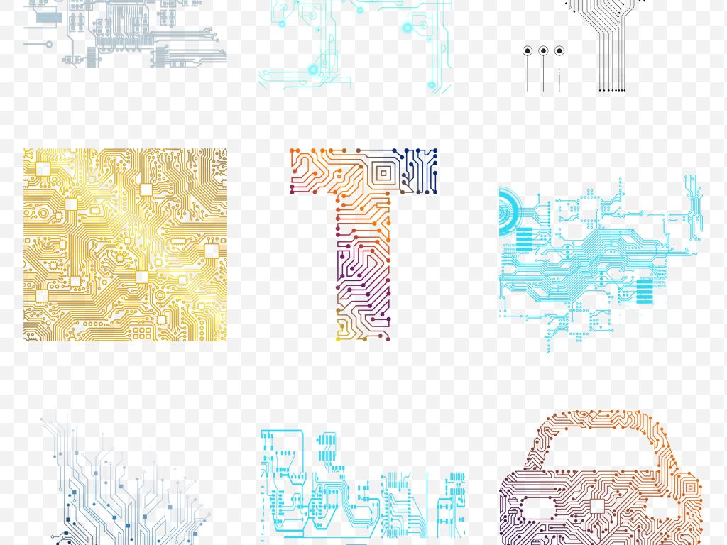 手绘互联网科技线条芯片电路板电子元件png素材