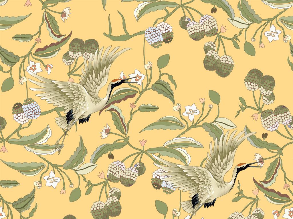 手绘中国风复古仙鹤植物花纹家纺印花