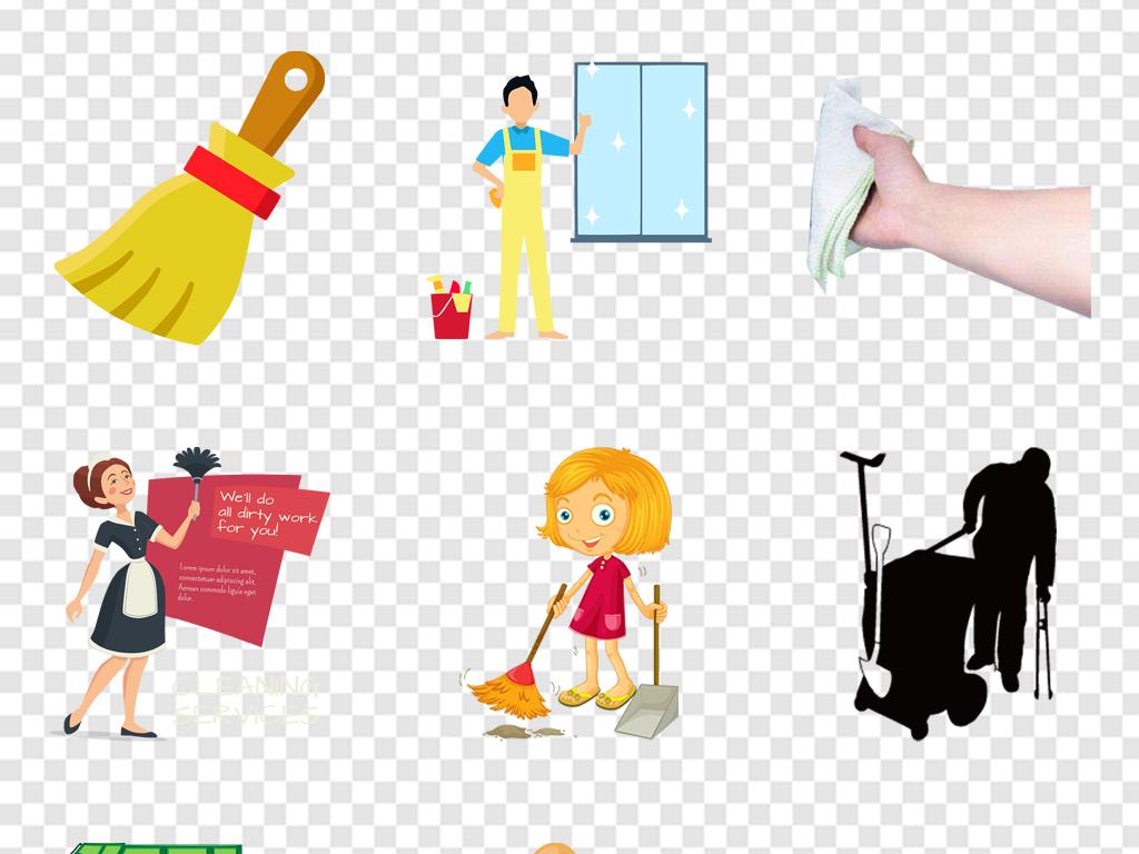保洁人物素材卡通打扫卫生的环卫工人