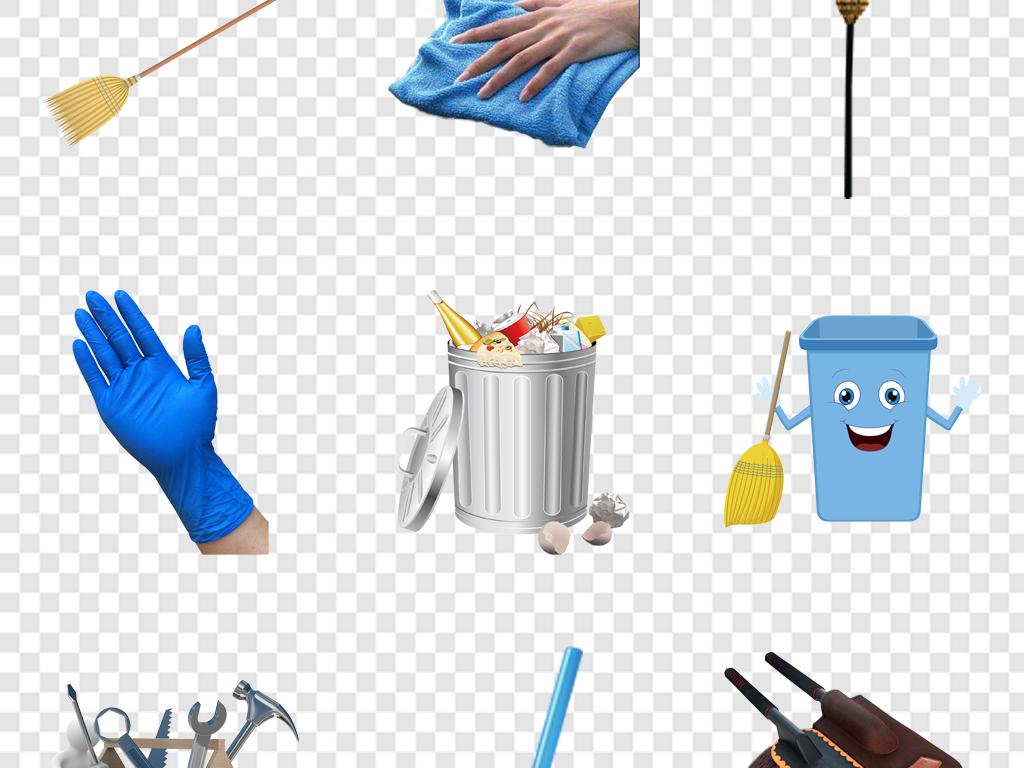 家用洗涤用品保洁人物素材卡通打扫卫生的环卫工人卡通手绘